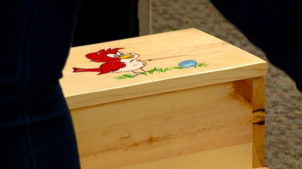 Hand carved wooden toys donated to Family and Children's Center in La Crosse