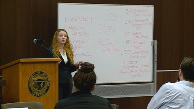 Experts teach local university students about minimizing suffering in war