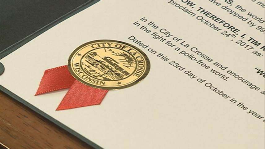 La Crosse Mayor makes proclamation, declares Tuesday World Polio Day in city