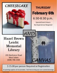 Cheesecake and Canvas Painting Class @ Hazel Brown Leicht Memorial Library