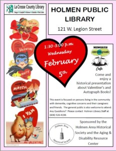 Memories Community Grounds Cafe Valentines and Autograph Books @ Holmen Public Library