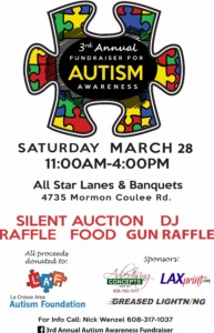 3rd annual autism awareness fundraiser @ All Star Lanes & banquet