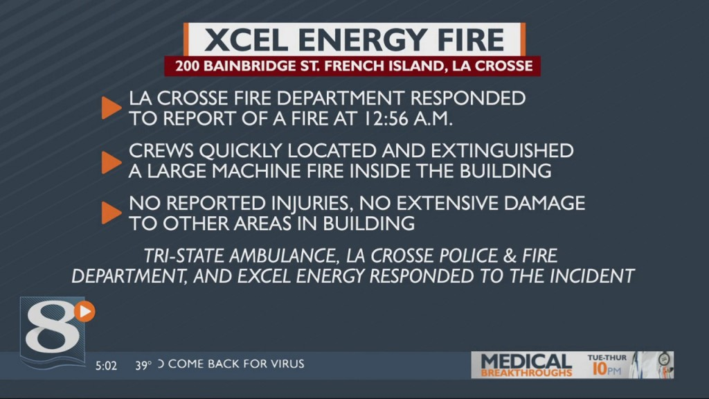 Overnight Fire At Xcel Energy