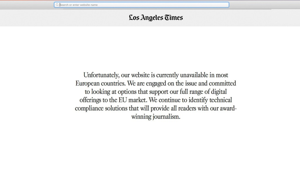 LA Times takes down website in Europe