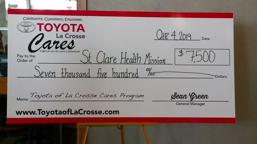$7,500 donation supports La Crosse's St. Clare Health Mission