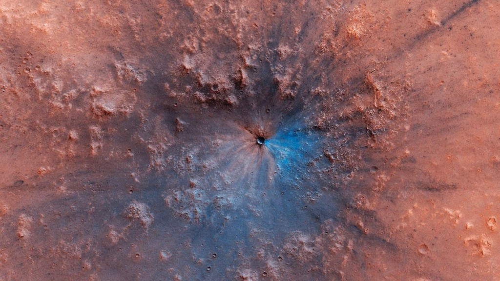 NASA releases new image of impact crater on surface of Mars