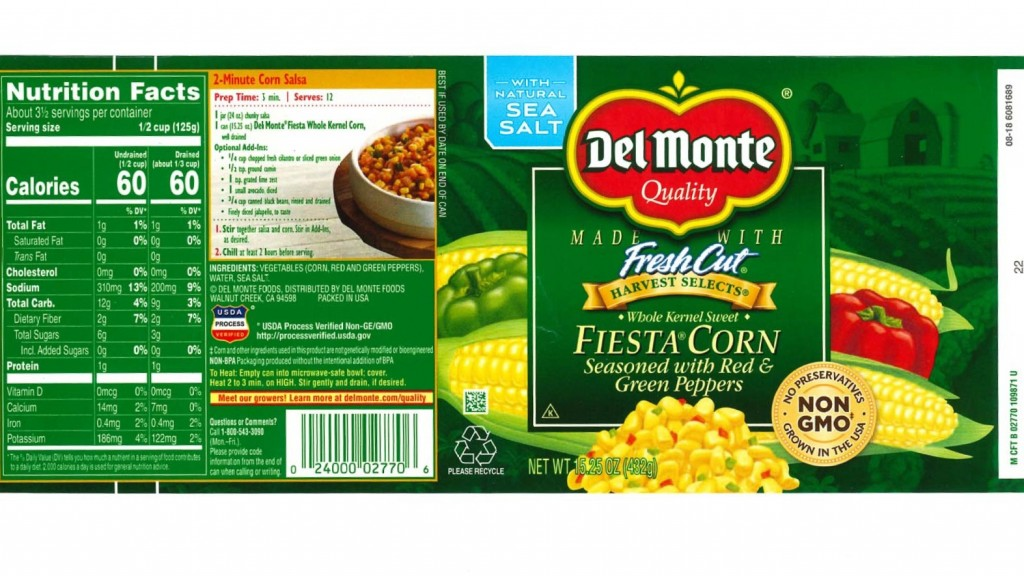 Del Monte recalls canned corn due to under-processing