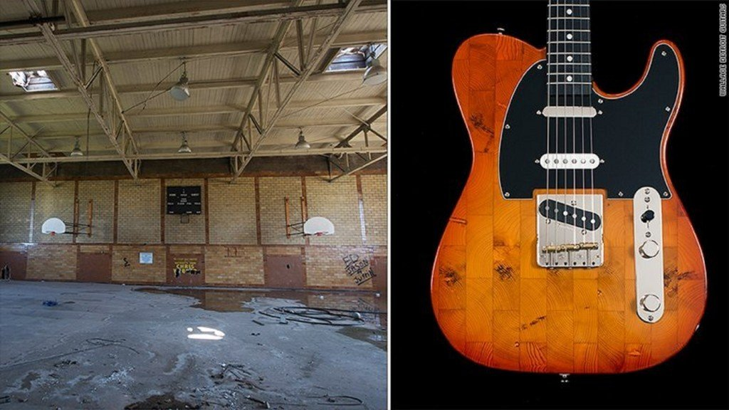 He turns wood from Detroit's vacant buildings into beautiful guitars