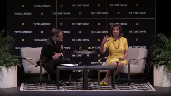 Nancy Pelosi interrupted by heckler at Texas festival