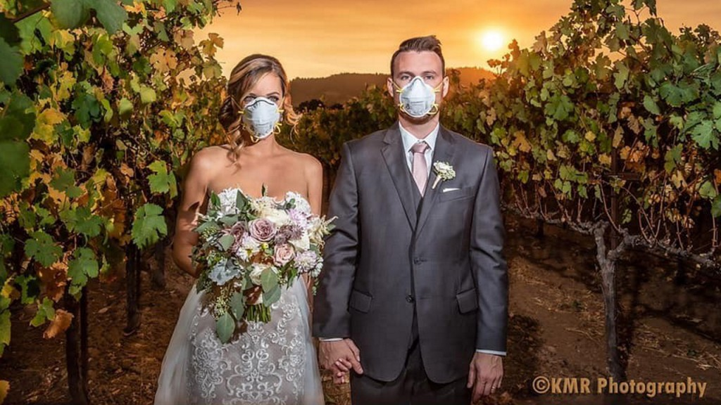 Viral wedding photo captures joy, sorrow during Kincade fire