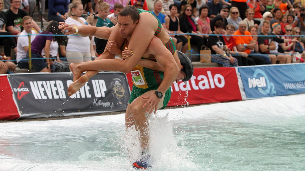 'She ain't heavy': Lithuanian couple wins world wife-carrying title