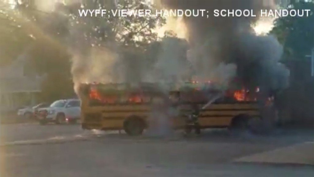 56 students safe after school bus catches fire