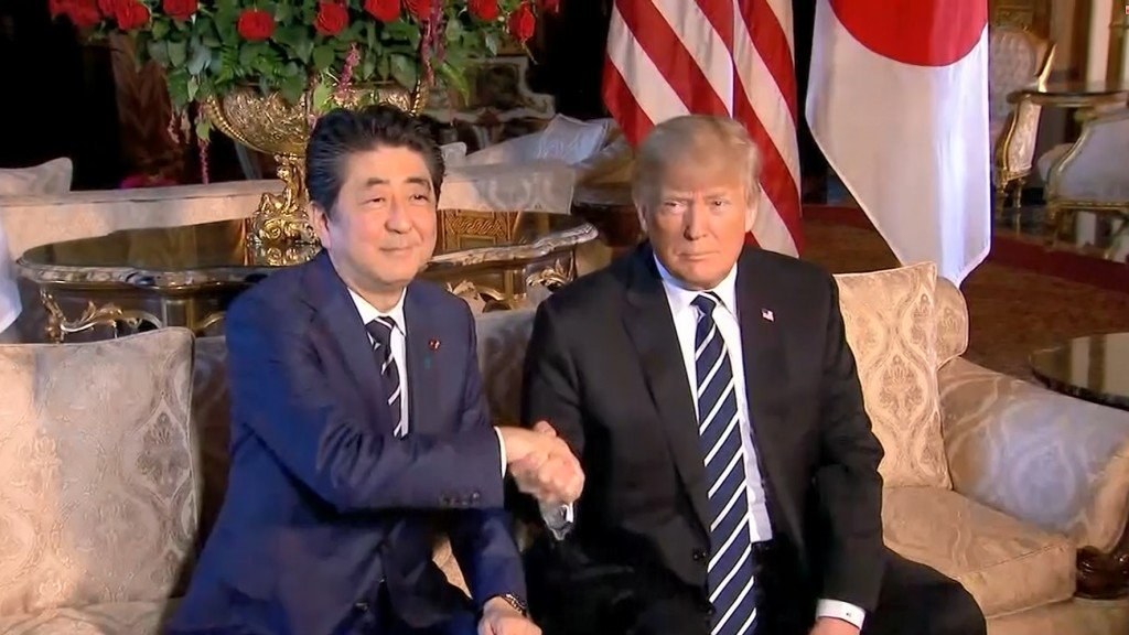 Trump, Abe aim to lessen tension over trade and North Korea