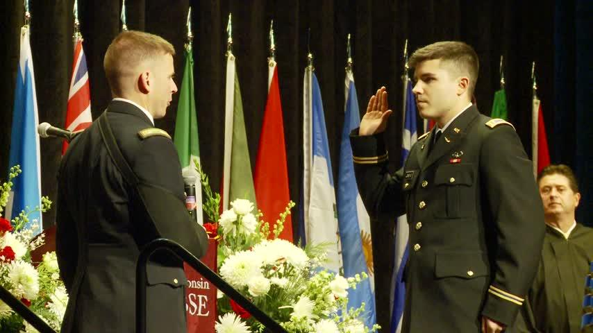UWL student sworn into the Army during university's commencement