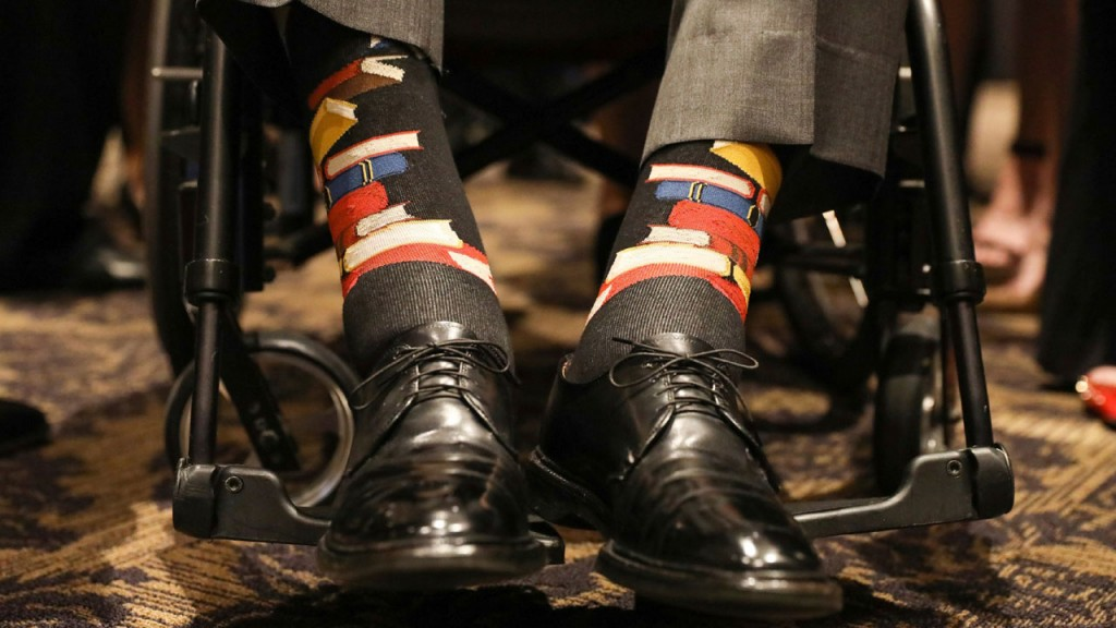 At Barbara Bush's funeral, George H.W. Bush honored her work on literacy with his socks