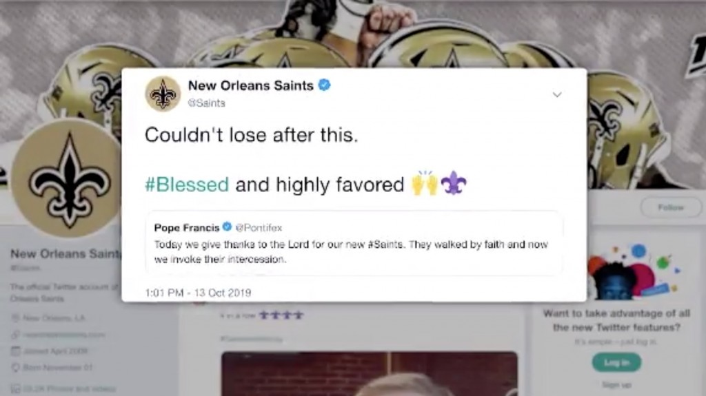 Pope Francis inadvertently tweets support for New Orleans Saints