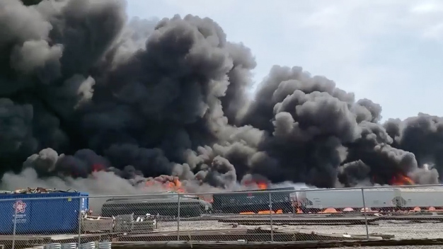 Train erupts into inferno after derailment