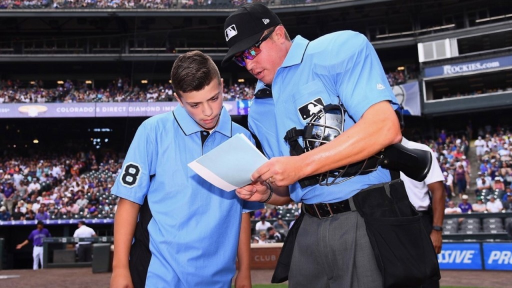 MLB umpire meets teen ump from youth baseball game brawl