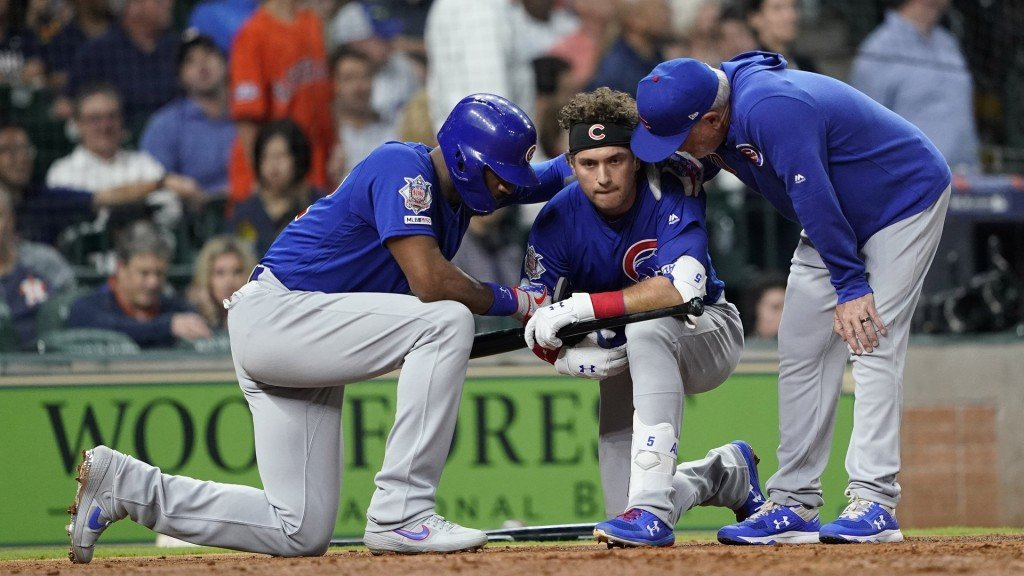 Cubs' Almora consoled after foul ball hits child