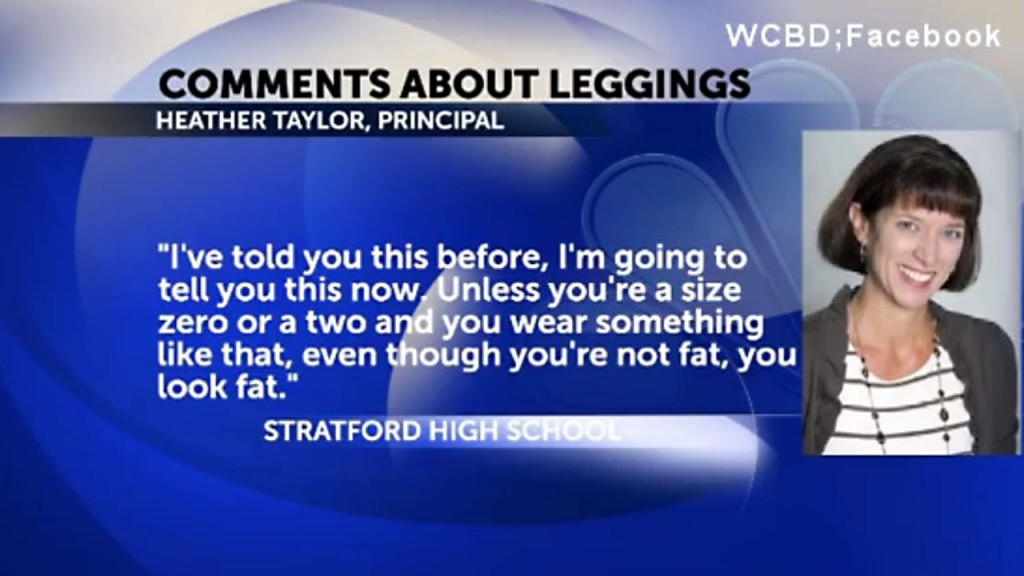 Not size 0 or 2? Principal says 'you look fat' in leggings