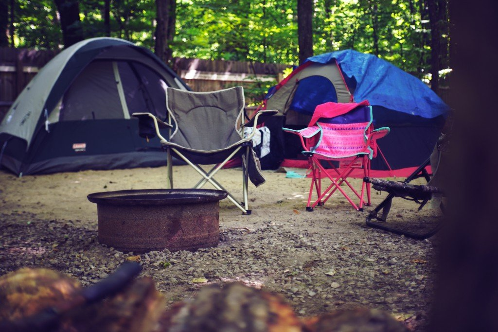 Two Pink And Gray Camping Chairs 2662816