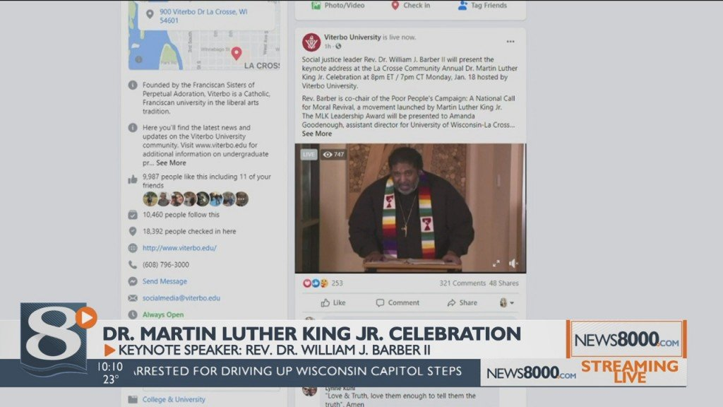 Monday Evening Viterbo University Hosted Its Annual Martin Luther King Junior Celebration, Virtually
