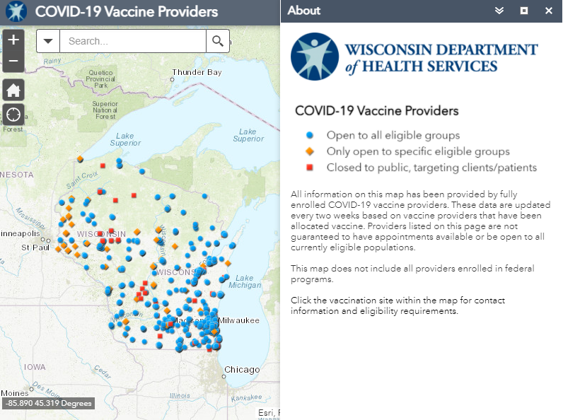 Wisconsin Vaccine Provider Map