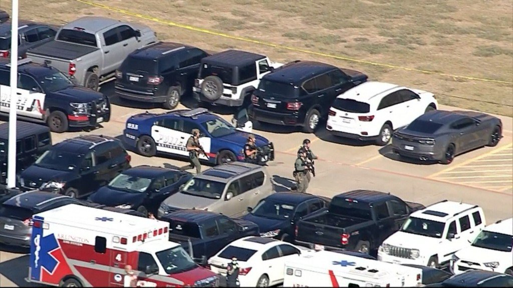 Police Are At The Scene Of A Shooting At A High School In Arlington, Texas