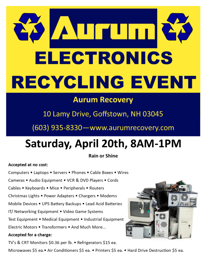 Aurum Recycling Event @ Aurum Recovery | Goffstown | New Hampshire | United States