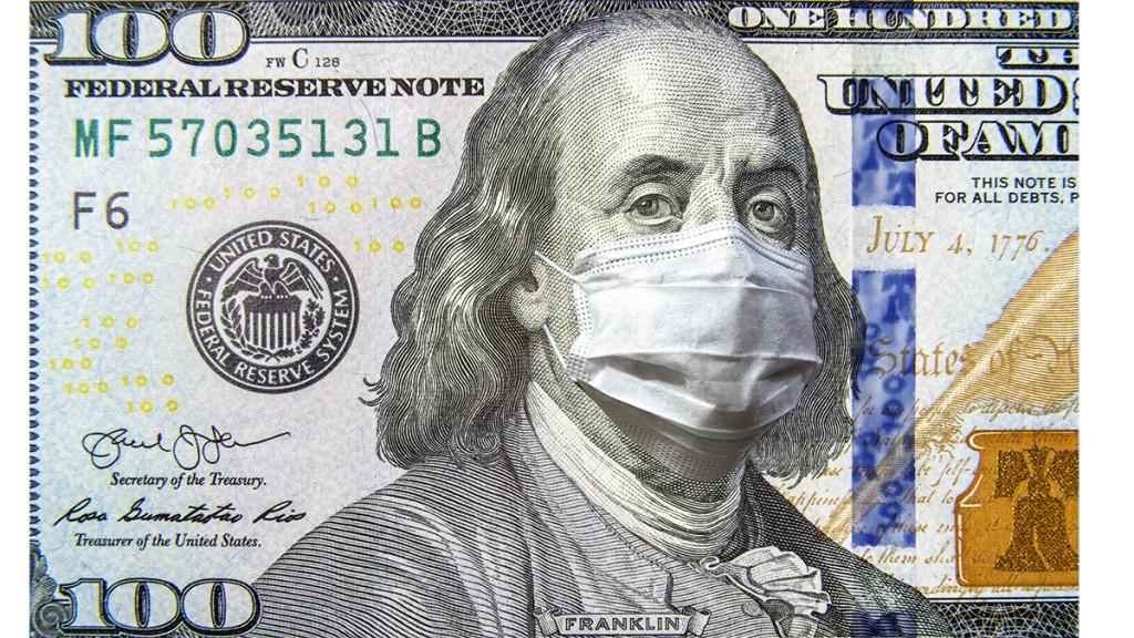 Covid 19 Coronavirus In Usa, 100 Dollar Money Bill With Face Mask. Coronavirus Affects Global Stock Market.