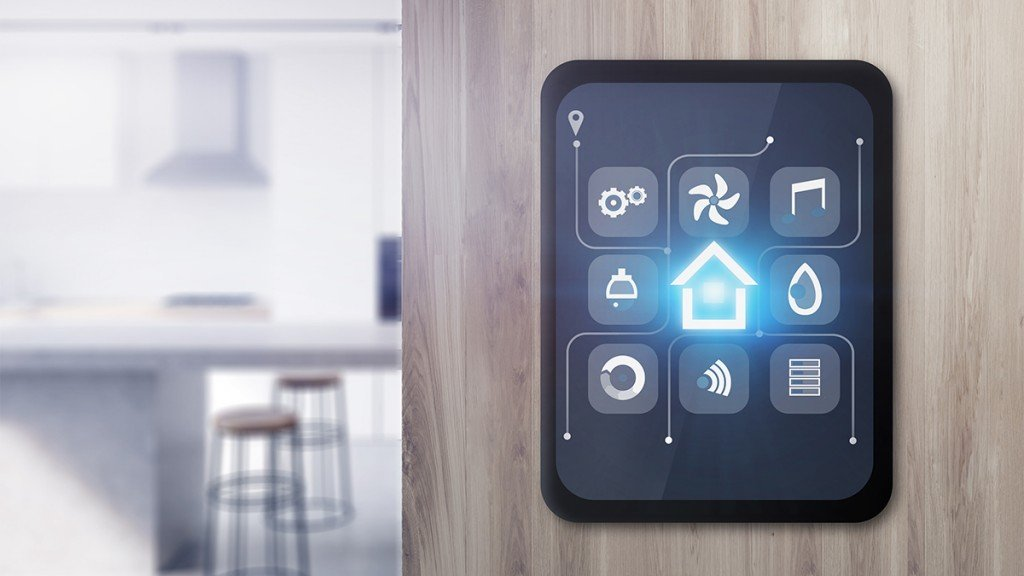 Smart Home Icons On Tablet In Kitchen