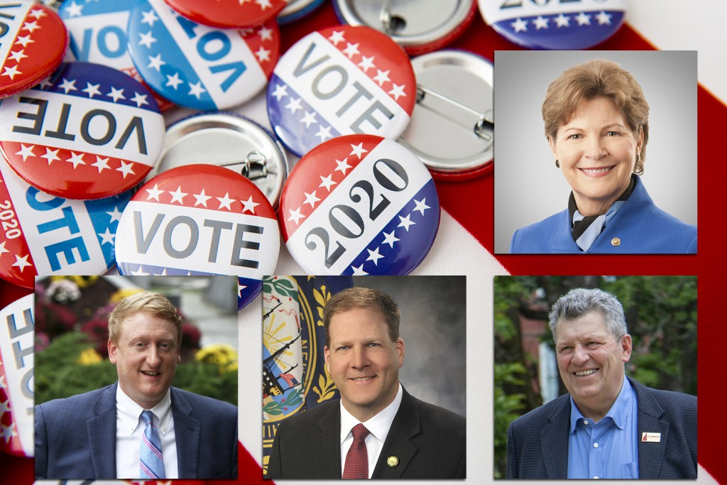 American Vote Badges On National Usa Flag Background