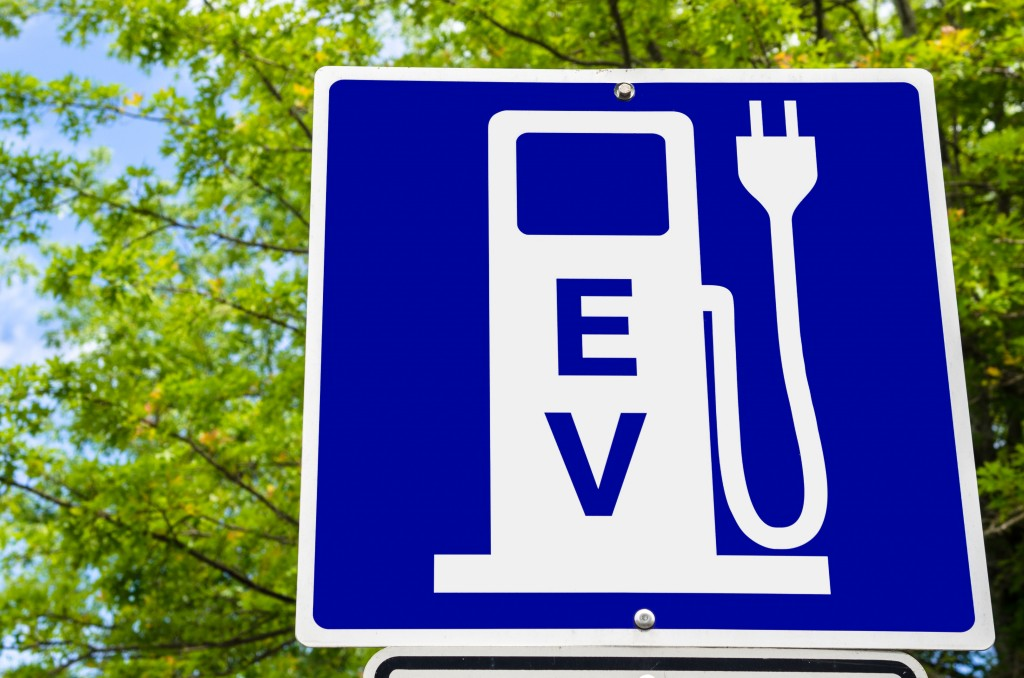 Close Up Of A Sign Indicating An Electric Vehicle Recharging Point