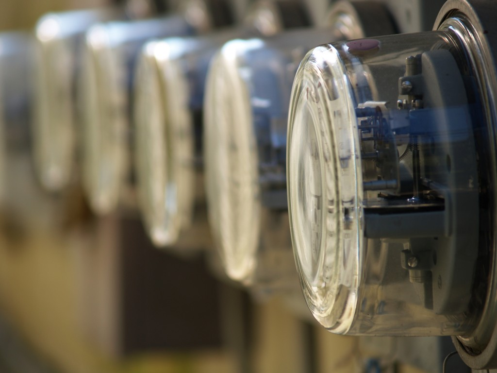 Row Of Electric Meters Array