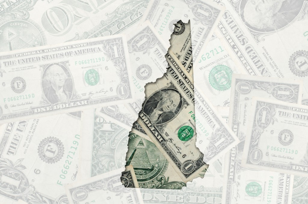 Outline Map Of New Hampshire With Transparent American Dollar Banknotes