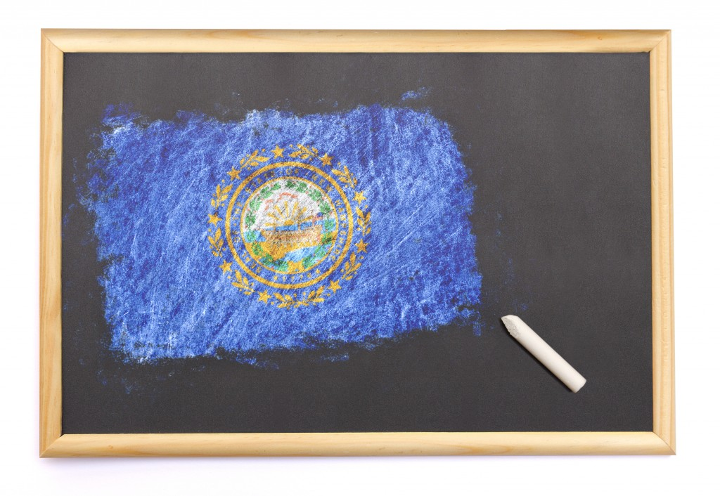 Blackboard With The National Flag Of New Hampshire Drawn On.(series)