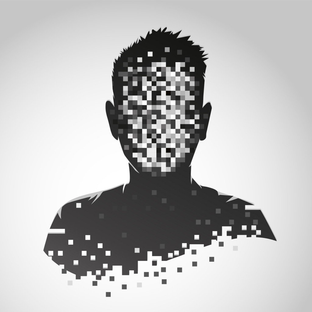 Anonymous Vector Icon. Privacy Concept. Human Head With Pixelated Face. Personal Data Security Illustration.