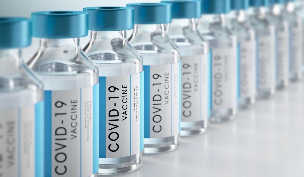 Close Up Of Bottles Of Covid 19 Vaccine