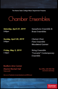 Chamber Ensemble Recital Series @ Alumni Recital Hall, Redfern Arts Center, Keene State College | Keene | New Hampshire | United States