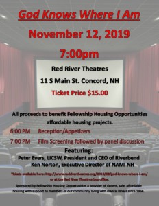 "Fellowship Housing Opportunities presents ""God Knows Where I Am"" @ Red River Theatres 