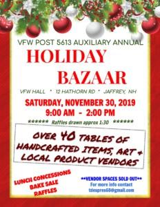 Jaffrey NH VFW Holiday Bazaar @ Jaffrey Memorial Post 5613 VFW   Jaffrey   New Hampshire   United States