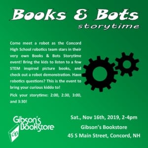 Books & Bots Storytime @ Gibson's Bookstore | Concord | New Hampshire | United States
