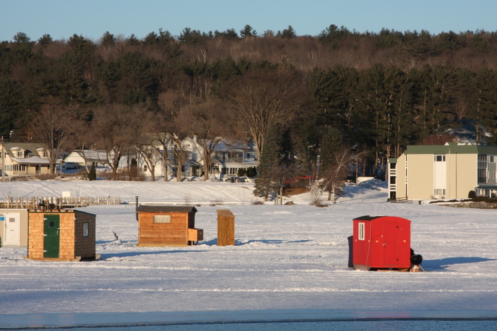 New Hampshire, Meredith, Lake Winnepesaukee, Ice Fishing, Shacks, Winter Sport,