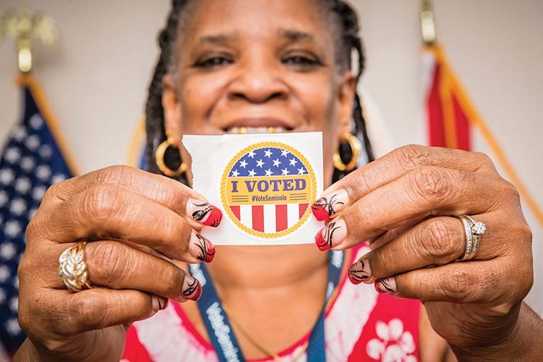 Sharon Glover, Poll Worker, Photo By Roberto Gonzalez