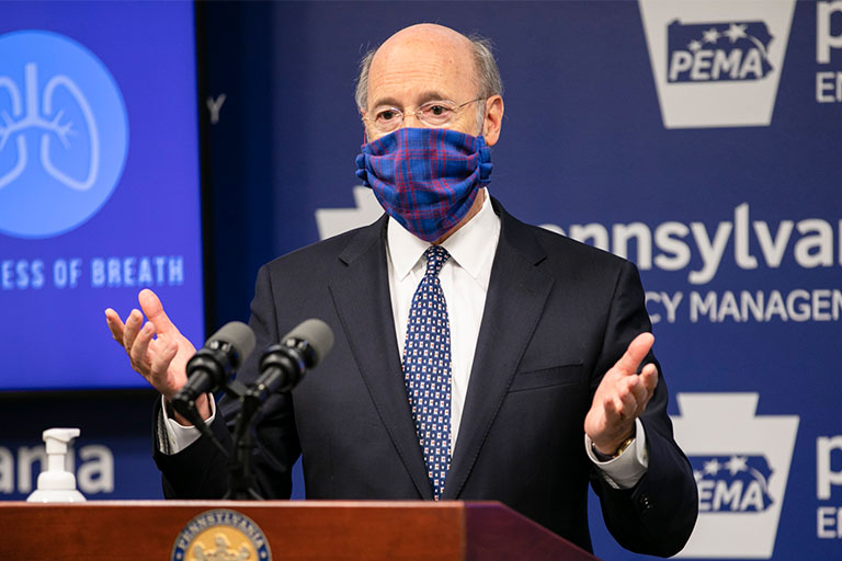 Gov Wolf Wearing A Mask At Pema