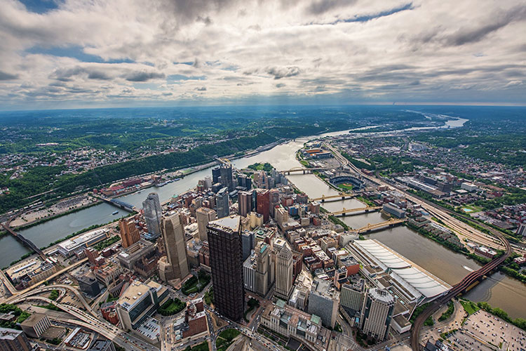 An Aerial View Of The Golden Triangle In Pittsburgh (1)