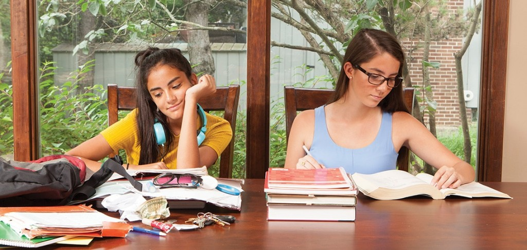 Two Girls Doing Homework