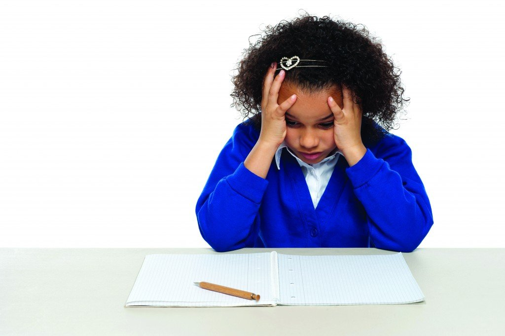 Stressed Out Primary Girl Child Holding Her Head