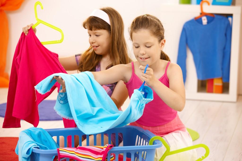 Schoolgirls Helping With Housework