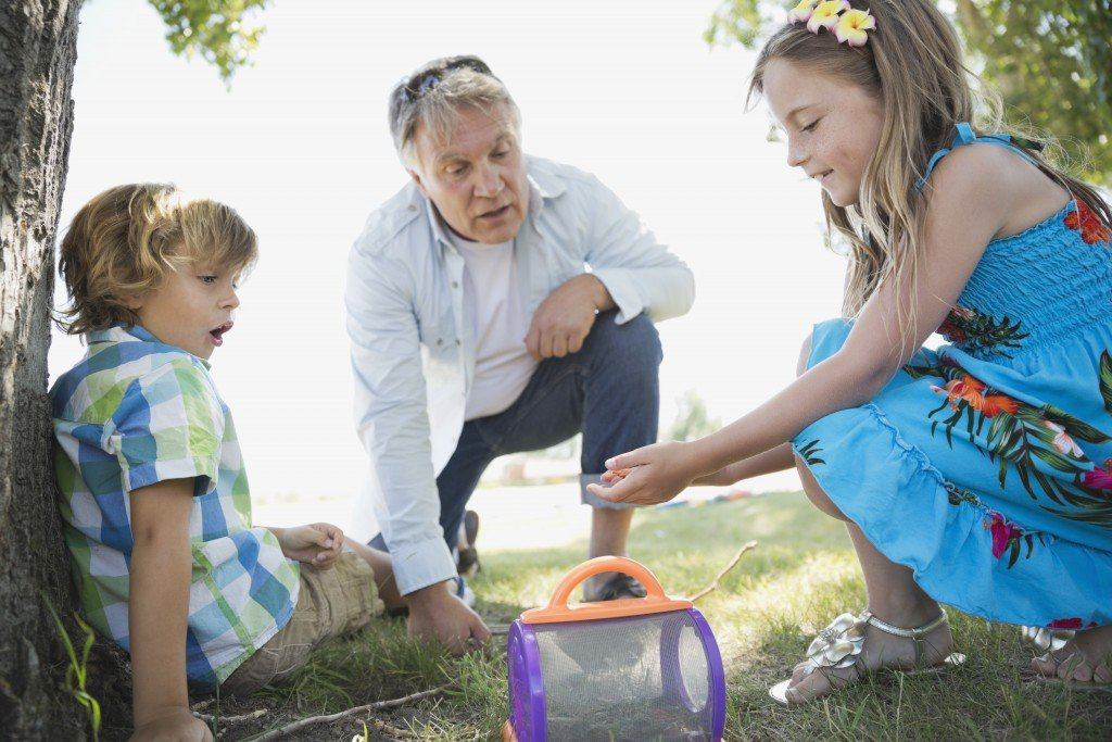 Kids Catching Bugs With Their Grandfather